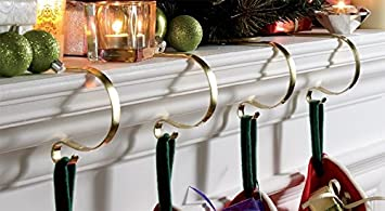 BRASS EFFECT SET OF 4 MANTLE CLIPS FIREPLACE CHRISTMAS STOCKING ...