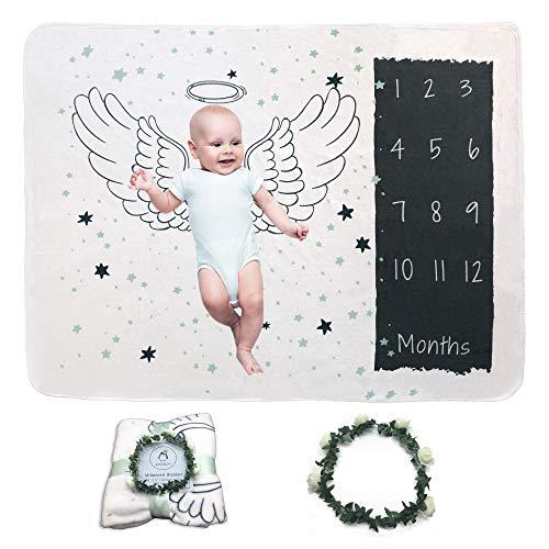 KOONDY Fleece Baby Milestone Blanket - Infant Newborn Baby Swaddling Month Blanket for Photography - Unisex Design Monthly Milestone Blanket with Crown (Best Lens To Use For Newborn Photography)