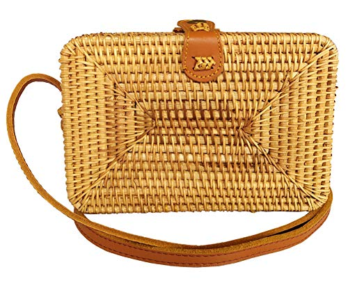 Ata Rattan Crossbody Bags - Square Woven Wicker Straw Purses (Genuine Leather Strap)...