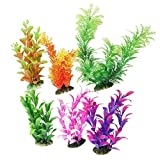 CNZ 6 Piece, Assorted Color Aquarium Plastic Plant Decoration with Ceramic Base