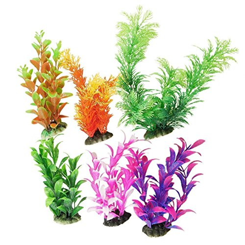 CNZ 6 Piece, Assorted Color Aquarium Plastic Plant Decoration with Ceramic Base (Plastic Aquarium Plant)