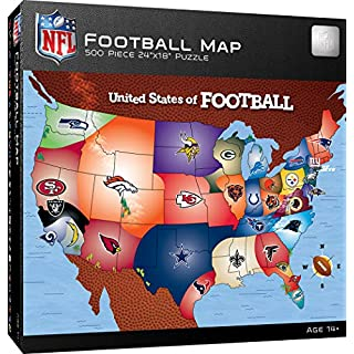MasterPieces NFL USA Map Jigsaw Puzzle, United States of Football, 500 Pieces