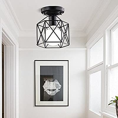 RUXUE Industrial Pendant Lighting Vintage Square Cage Semi Flush Mount Ceiling Light Chandelier Black
