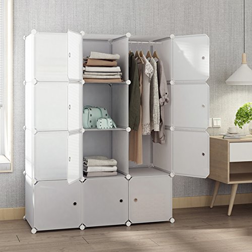 Tespo Portable Closet for Hanging Clothes, Armoire Wardrobe for Bedroom, Storage Cube Organizer, Modular Cabinet, Sturdy and Capacious, White.