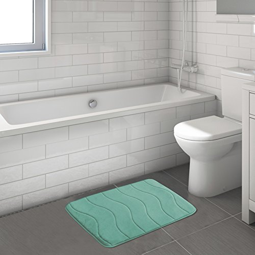 Premium Memory Foam 17x24 inch Absorbent Soft Microfibers of Bathroom Rug Non-Slip Bath Rugs - Aqua Green by Flamingo P (Image #2)