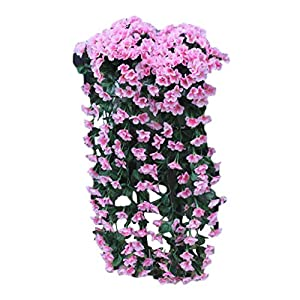 Yamart Fashion Artificial Violet Flower Wall Wisteria Basket Hanging Garland Vine Flowers Fake Silk Orchid Home Party Wedding Decor Flowers 5