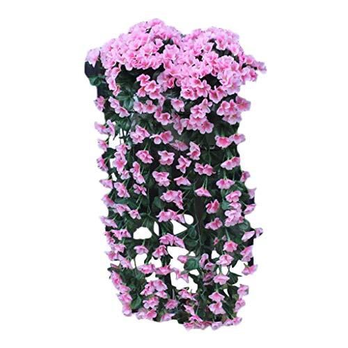 Dergo ☀Fake Flower Hanging Flowers Artificial Violet Flower Wall Wisteria Basket Hanging Garland Vine Flowers Fake Silk Orchid (D)