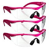 Safety Girl Navigator Safety Glasses (3 Pair-Pink Frame-Clear Lense)