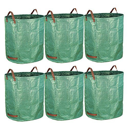 gardzen 6-Pack 72 Gallon Bags - Reuseable Heavy Duty Gardening Bags, Lawn Pool Garden Leaf Waste Bag (Best Way To Collect Leaves)