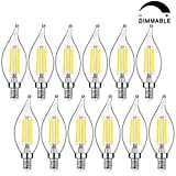 E12 Candelabra LED Bulbs Dimmable 5000K Daylight White, 40W Equivalent Flame Tip LED Chandelier Light Bulbs 4W, CA11 Vintage Filament LED Candle Bulb with Decorative Candelabra Base, 12 Packs