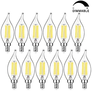 E12 LED Candelabra Bulbs, Dimmable 5000K Daylight White, 40W Equivalent Flame Tip LED Chandelier Light Bulbs 4W, CA11 Vintage Filament LED Candle Bulb with Decorative Candelabra Base, 12 Packs