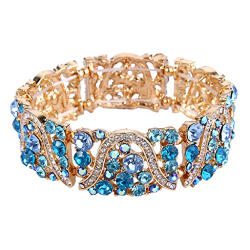 EVER FAITH Gold-Tone Austrian Crystal Art Deco Wave Bridal Elastic Stretch Bracelet Sea - Cuff Bracelet Crystal Austrian