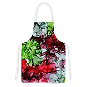 """KESS InHouse Claire Day """"TMNT"""" Green Maroon Artistic Apron, 31 by 35.75"""", Multicolor"""