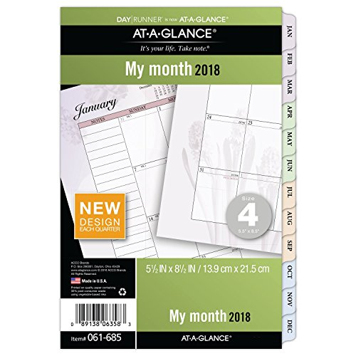 """AT-A-GLANCE Day Runner Monthly Planner Refill, January 2018 - December 2018, 5-1/2"""" x 8-1/2"""", Loose Leaf, Size 4, Nature (061-685)"""