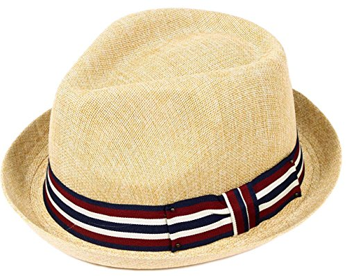 Livingston Unisex Summer Straw Structured Fedora Hat w/Cloth Band, Tan, S/M