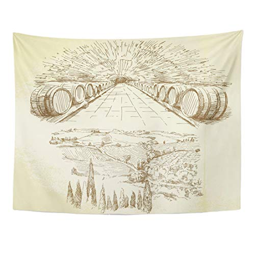 Emvency Tapestry 60 x 50 Inches Cellar Wine Winery Vineyard Hand Drawn Tuscany Cask Grape Italian Vintage Home Decor Tapestries Wall Hanging Art for Living Room Bedroom