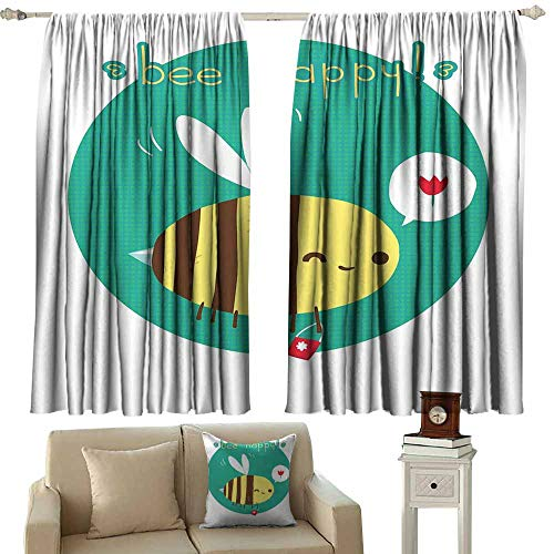 Decor Curtains Queen Bee Winking Bumblebee Cartoon Doodle with Bee Happy Quote Circle Abstract Background Multicolor Blackout Draperies for Bedroom Window W72 xL108