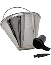 GOLDTONE Stainless Steel Coffee Filter - No.4 Cone Style Permanent Metal Reusable Coffee Filter for Ninja and Cuisinart Coffee Makers - Includes Scoop and Brush…