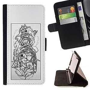 Momo Phone Case / Flip Funda de Cuero Case Cover - Floral gris Mujer Pétalo Negro Blanco - Samsung Galaxy Note 3 III