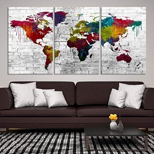 three panel world map Amazon Com Colorful World Map On Wall Canvas Print 3 Panel World