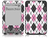 Argyle Pink and Gray - Decal Style Skin fits Amazon Kindle 3 Keyboard (with 6 inch display)