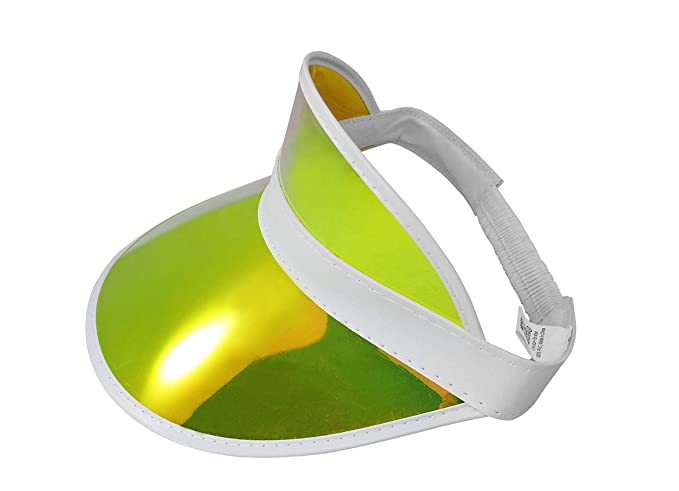 e0cb73dc Tennis Beach Iridescent Mirrored Plastic Sun Visor Hat, Gold, One Size