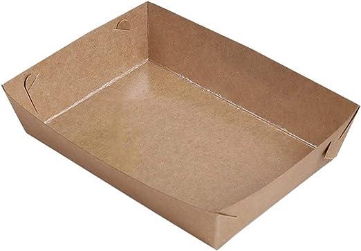 Amosfun 30 Piezas Bandeja de Alimentos Papel Kraft para Comida Rápida Papas Fritas (16x11x4cm): Amazon.es: Hogar
