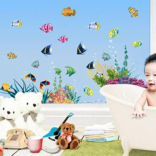 Hatop New Undersea World Removable Mural Wall Stickers Wall Decal Room Home Decor (B)
