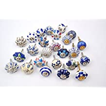Set of 25 Blue and white hand painted ceramic pumpkin knobs cabinet drawer handles pulls by Karmakara