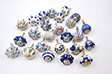 Cabinet Knobs and Pulls Set of 25 Blue and white hand painted ceramic pumpkin knobs cabinet drawer handles pulls