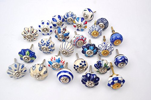 Set of 25 Blue and white hand painted ceramic pumpkin knobs cabinet drawer handles pulls (Porcelain Door Knob Set)