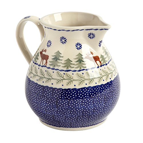 Polish Pottery Winter Moose Handmade Ceramic Pitcher, 43 Oz