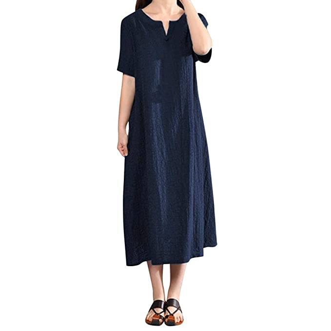 Vestidos Largos De Mujer Elegantes,Moda Diario Media Mangas O-Cuello Color Sólido Casual