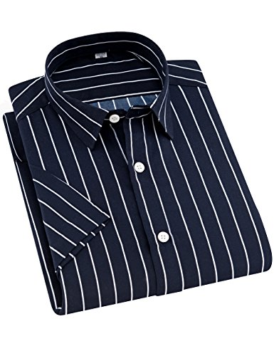(ERZTIAY Men's Casual Business Vertical Striped Button Down Short Sleeve Dress Shirts(Navy Blue White,Large))