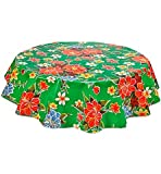 Round Freckled Sage Oilcloth Tablecloth in Hawaii Green - You Pick the Size!