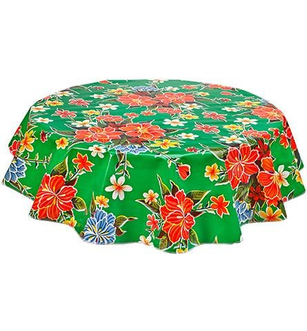 Round Freckled Sage Oilcloth Tablecloth in Hawaii Green - You Pick the Size! by Freckled Sage Oilcloth Products