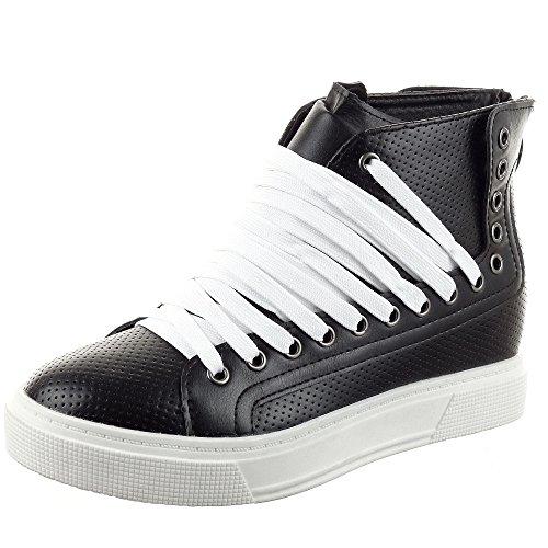 Sopily - damen Mode Schuhe Sneaker Reißverschluss - Schwarz