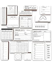 18 قطعة من طوابع مجلة Rancco مع وسادة حبر، مجموعة من 4 أقلام استنسل تخطيط لختم بوجو لدفتر اليوميات DIY، قائمة المهام، منظم مواعيد الأسبوع الشهري، حرفة تسجيل القصاصات، تعزيز وتسهيل مخططك