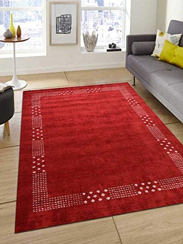 Rugsotic Carpets Hand Knotted Gabbeh Silk Mix 9'x12' Area Rug Contemporary Red LSM530