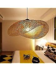 Coding Vintage hanglamp bamboe geweven hanglamp natuurlijke bamboe hanglamp nostalgische E27 kroonluchter rotan lampenkap lamp voor eetkamer studeerkamer café 50 cm