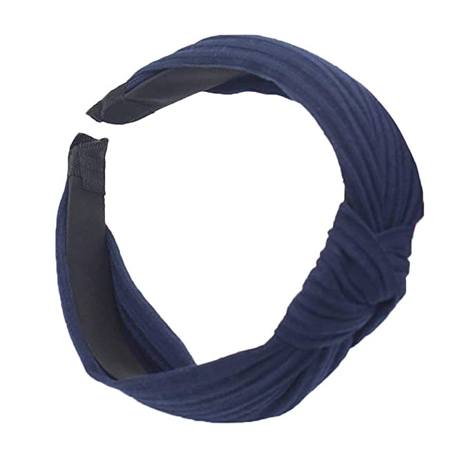 83dc3be34b30c Women Fashion Solid Color Headband Twist Hairband Bow Knot Cross Tie  Headwrap Hair Band Hoop (Navy)  Amazon.co.uk  Clothing