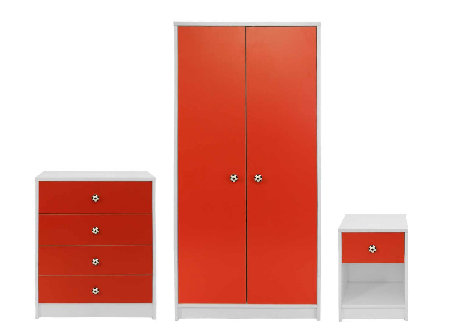 Devoted2Home Rovers Children's Bedroom Furniture Set with Wardrobe/Chest of Drawers/Bedside Cabinet, Wood, Red/White, 49.8 x 66.8 x 139 cm, 3-Piece AA720902ROV