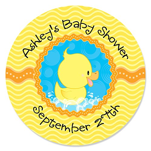 Big Dot of Happiness Custom Ducky Duck - Personalized Baby Shower or Birthday Party Circle Sticker Labels - 24 Count