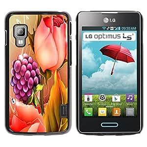 Qstar Arte & diseño plástico duro Fundas Cover Cubre Hard Case Cover para LG Optimus L5 II Dual E455 / E460 / Optimus Duet ( Raspberry Rose Painting Spring Floral)