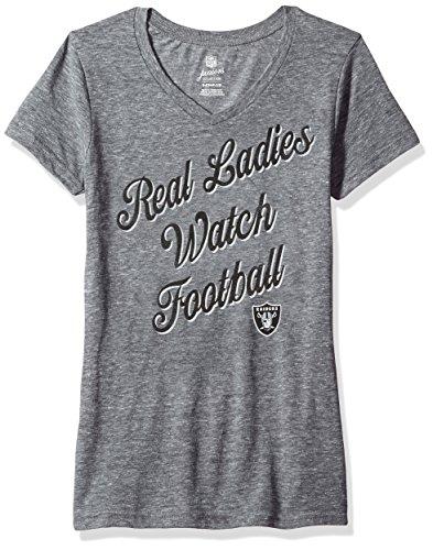 Outerstuff NFL Junior Girls Real Short Sleeve Tee, Oakland Raiders, Dark Grey Heather, M(7-9)