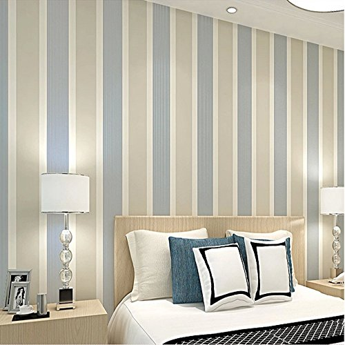 Stripe Modern Wallpaper (QIHANG Modern Minimalist Vertical Stripes Bedroom Living Room TV Background Non-woven Wallpaper Roll Beige Gray Color 0.53m x 10m=5.3m2)