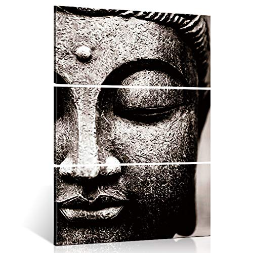Shuaxin Modern Large Photo Buddha Wall Art Print on Canvas Home Living Room Decorations Wall Art set of 3,16*32inch Gray with DIY wood Frame (Canvas Grey Buddha)