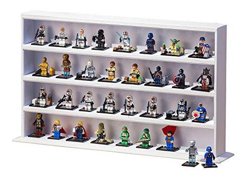JackCubeDesign Minifigures Display Storage Stand Case Leather Toy Figures Organizer Cabinet(4 Shelves, Carbon Design White) - :MK437C