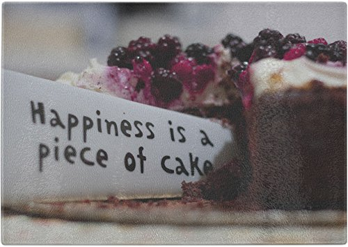 Happiness is a Piece of Cake Decorative Art - Antimicrobial Tempered Glass Cutting Board with Design by Kiwi Creek