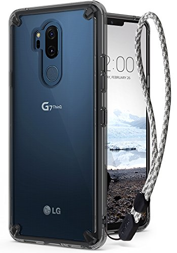Ringke [Fusion] Compatible with LG G7, G7 ThinQ Case Crystal Clear PC Back [Anti-Cling Dot Matrix Technology] Lightweight Transparent TPU Bumper Drop Protective Cover with Wrist Strap - Smoke Black